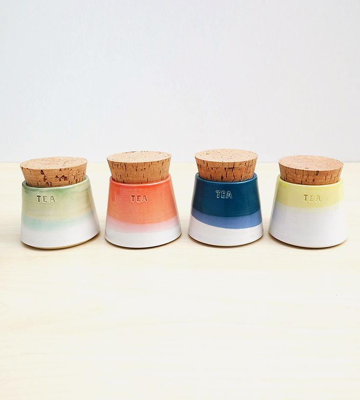 Small Ceramic Tea Canisters, Set of 4 by Stuck in the Mud Pottery on Scoutmob