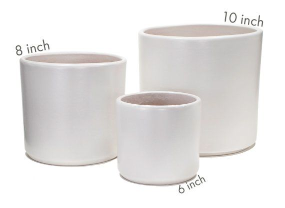 Matte White Cylinder Planter Optional Saucer Indoor Modern Etsy White Planters Pots White Ceramic Planter Ceramic Planter Pots