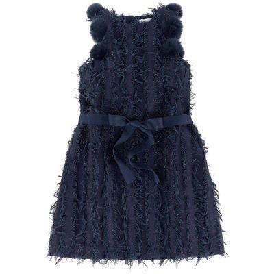 Bleu comme gris - Fringed dress with bobbles - 210372