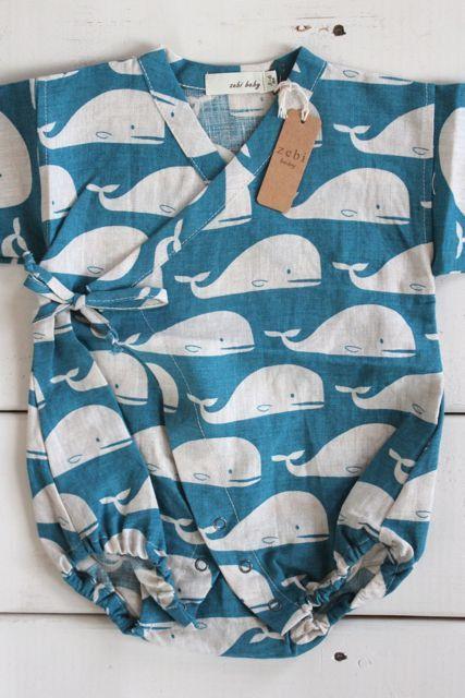 Zebi Baby kimono wrap in linen with whales