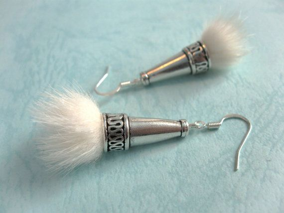 White Fur earrings Winter Fashion silver Jewelry by AnnyMay, $17.00