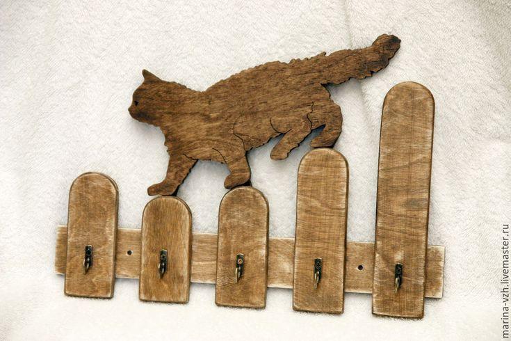 Купить Ключница-вешалка Кот на заборе - коричневый, ключница, вешалка, подарок, презент, новогодний подарок