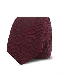 Burgundy Textured Wool Silk Blend Skinny Tie, , original