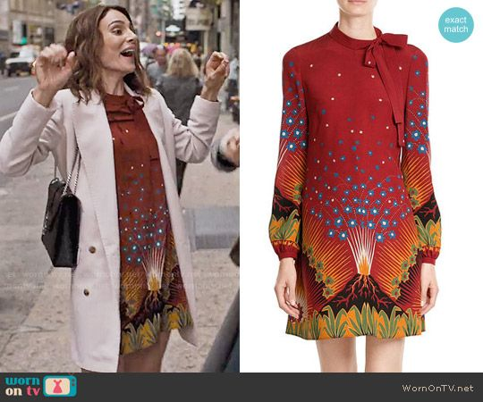 Sam's brown floral tie-neck dress on Friends from College.  Outfit Details: https://wornontv.net/75382/ #FriendsfromCollege