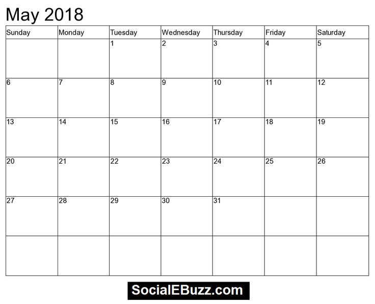 2018 May Calendar Template  http://socialebuzz.com/may-2018-calendar-printable-template/