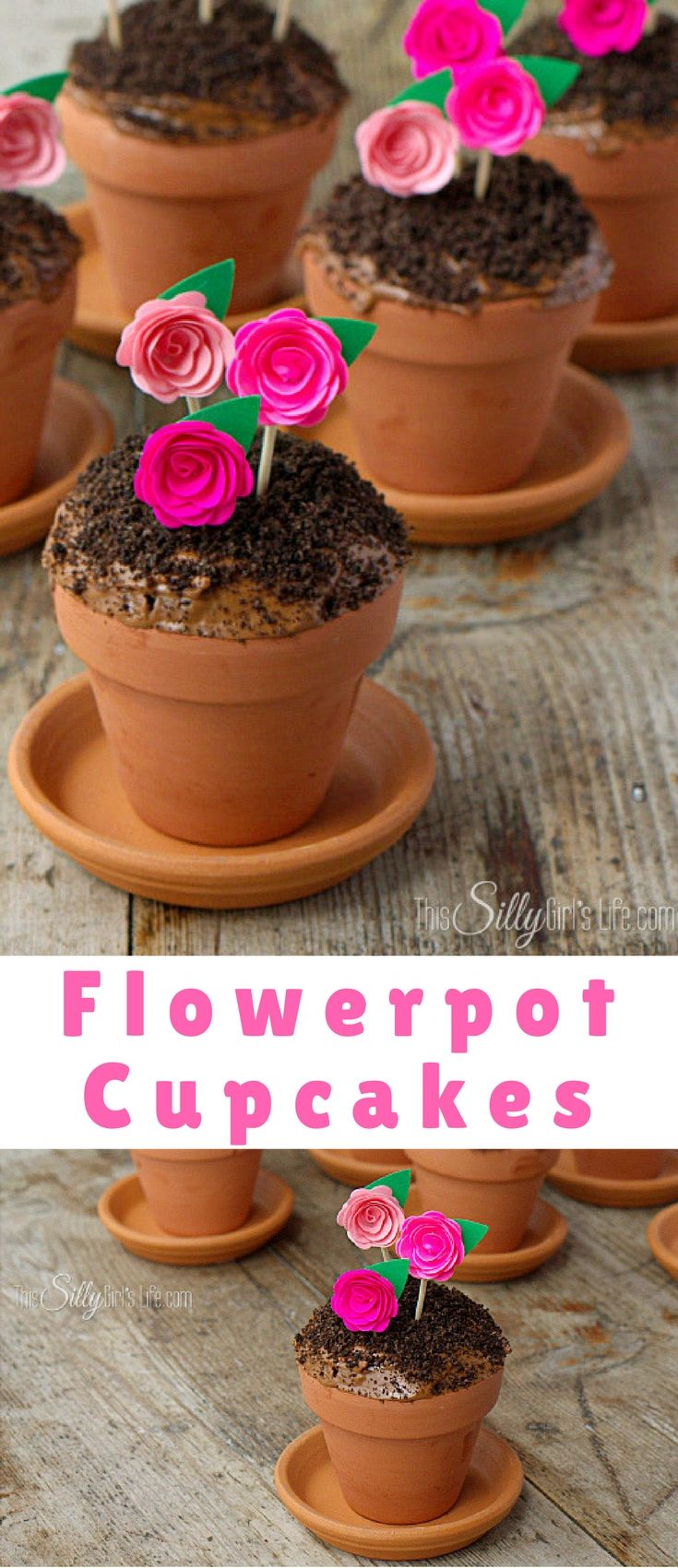 Flowerpot Cupcakes, chocolate devil's food cake baked in mini terracotta flower pots, topped with frosting, Oreo crumbs and pretty paper flowers to mimic flowerpots!