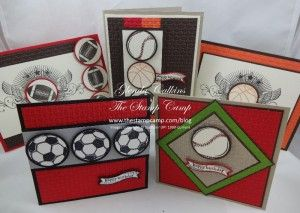 Great Sport Stamp Set of the Month Kit with PDF file, consumables for 5 cards with envelopes www.thestampcamp.com/blog/