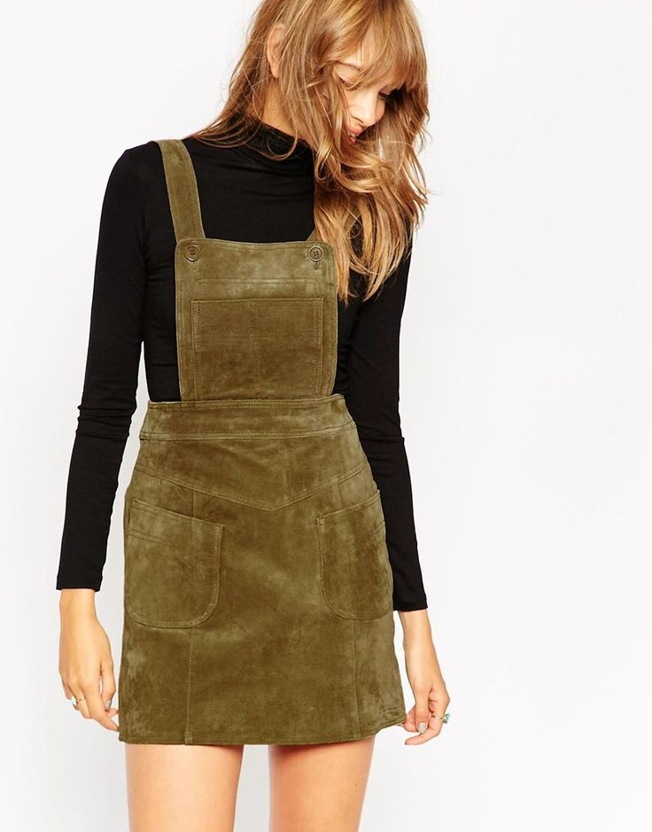 Image 1 of ASOS Mini Skirt in Suede with Pinafore Bodice