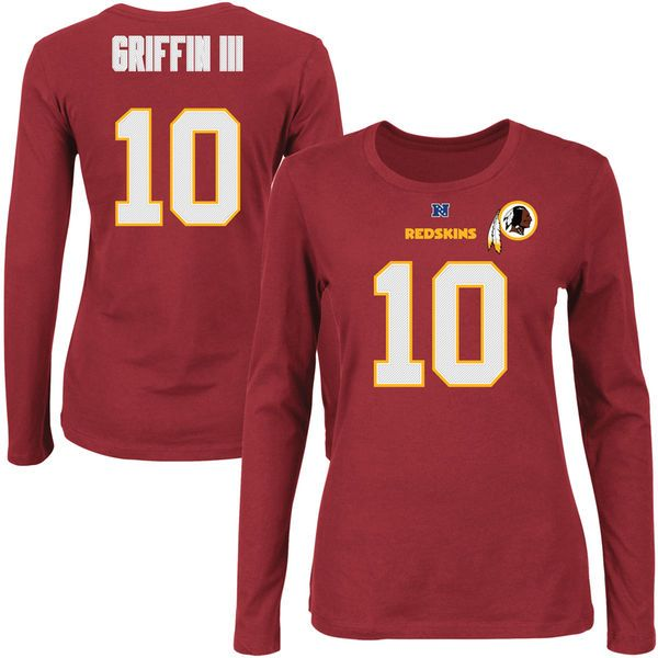 Robert Griffin III Washington Redskins Majestic Womens Fair Catch V Name and Number Long Sleeve T-Shirt – Burgundy - $17.99