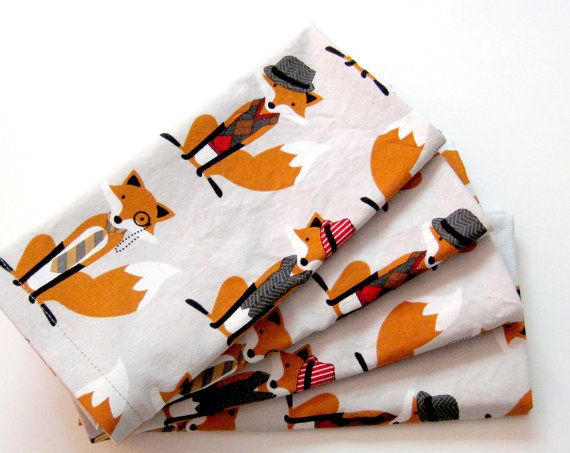 Cloth Napkins  Sets of 4  Dapper Foxes Gray Orange by ClearSkyHome