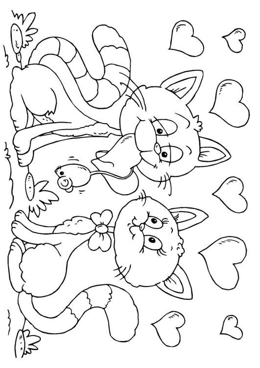 image detail for coloring page valentine cats img 24608