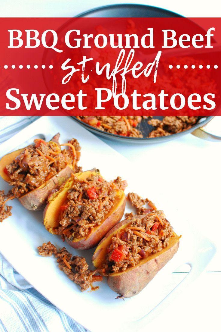 Bbq Ground Beef Stuffed Sweet Potatoes Snacking In Sneakers Recipe In 2020 Sweet Potato Snacks Beef Recipes Slow Cooker Balsamic Chicken