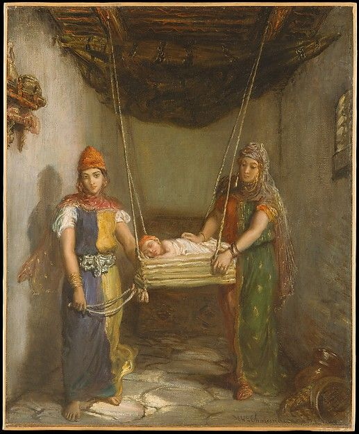 """Scene in the Jewish Quarter of Constantine(1851) Théodore Chassériau witnessed this scene and sketched it in his notebook during a trip to Algeria in 1846. From the ancient town of Constantine he wrote, """"I have seen some highly curious things: primitive and overwhelming, touching and singular. At Constantine, which is high up in some enormous mountains, one sees the Arab people and the Jewish people [living]as they were at the beginning of time.""""The Jewish women of North Africa were…"""