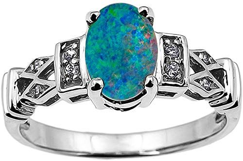 Buy Solid 14k White Gold Australian Opal Doublet Diamond Engagement Proposal Ring online – Jewelry
