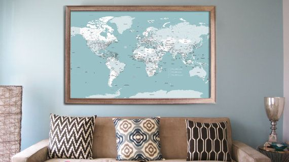 Framed Travel Map – Push Pin Travel World Map