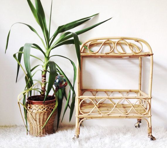 1970s bamboo drinks trolley vintage cane storage by VelvetEra