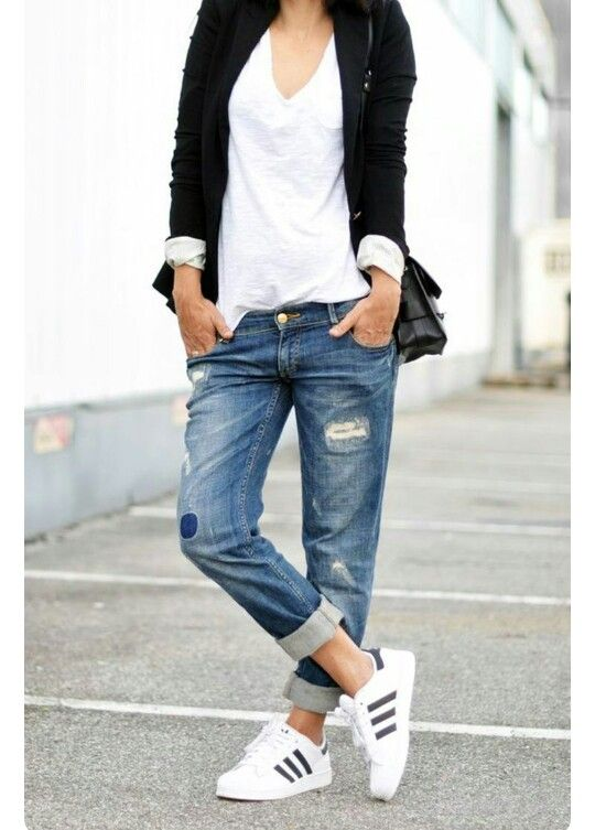 jean avec adidas superstar basic blanc veste noir