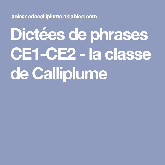 Dictées de phrases CE1-CE2 - la classe de Calliplume
