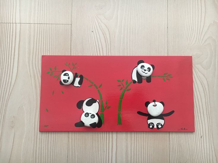 DIY panda stone painting