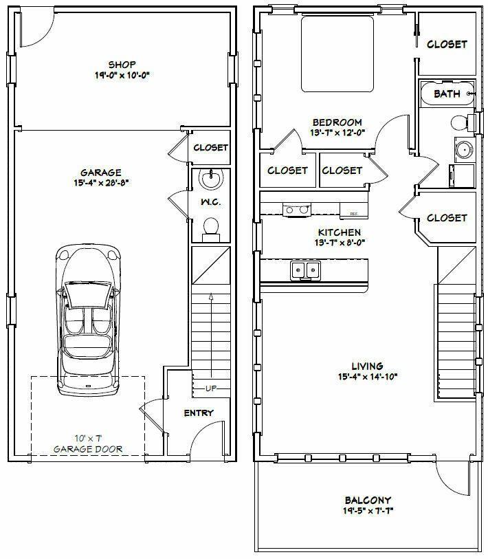 20 X20 Modern Style Two Car Garage Blueprints: 20X40 HOUSE -- 1 Bedroom 1.5 Bath -- 1,053 Sq Ft -- PDF