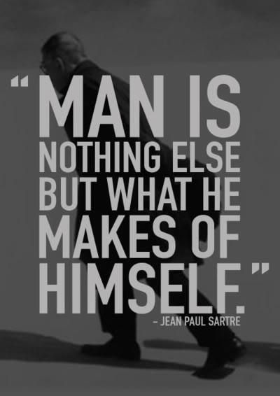 """jean paul sartres existentialist view of man being nothing more than what he makes of himself He believes the world is nothing more than """"a mechanical chaos of casual, brute enmity on which we stupidly impose our hopes and fears""""(16) this progression starts at a young age, and through out the twelve years of grendel's life, he grows closer to a total commitment to this theory."""