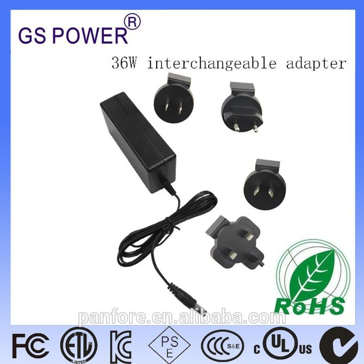 Interchangeable Power Adapter 12V3A with US SAA EU UK