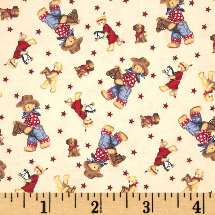Flannel Tossed Cowboy Bears Ivory/Multi from @fabricdotcom  From Fabric Traditions, this double napped (brushed on both sides) flannel is perfect for quilting, apparel and home décor accents. Colors include tan, brown, red, white and blue.