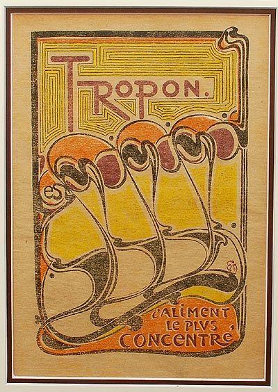 Originele kleurenlitho Tropon met tekst Tropon l'aliment le plus concentré kleine uitvoering uit het jaarboek Deutsche Kunst und Dekoration 1898 waarin deze als bijlage was opgenomen ontwerp Henry van de Velde / België