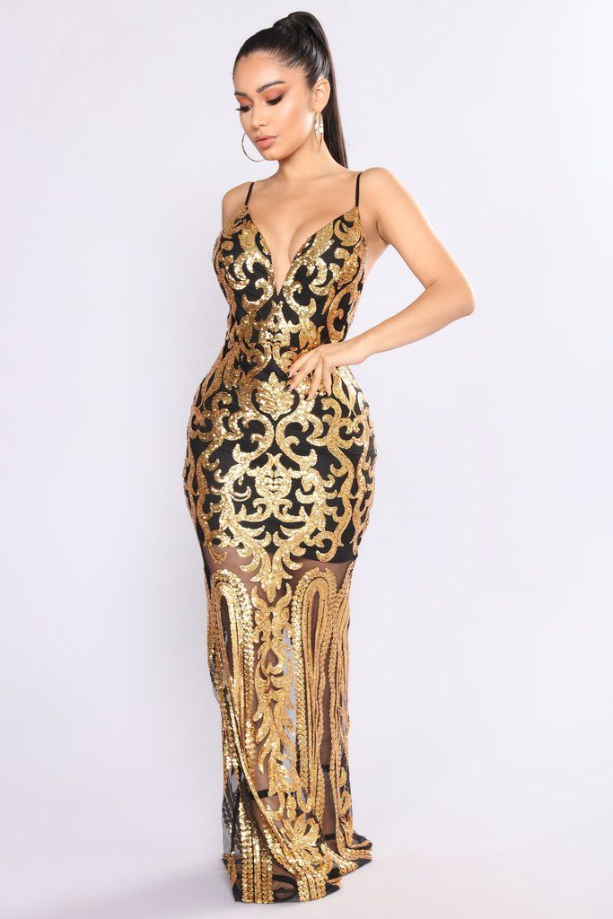 3881bcb92295 Guest Of Honor Sequin Dress - Black Gold