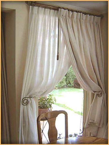 cortina lino : cortina de gasa blanca con pinzas  cortina de lino crudo con pinzas  fierro forjado envejecido con argollas  | soledadcortinas