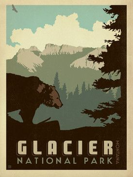Art & Soul of America: Glacier National Park Gallery Print - midcentury - Fine Art Prints - Anderson Design Group