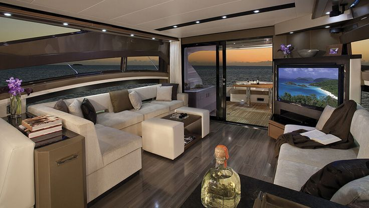 These luxury yacht interior designs, showing at the 2017 Miami Boat Show, showcase the impeccable sophistication of today's modern, high-tech ships.