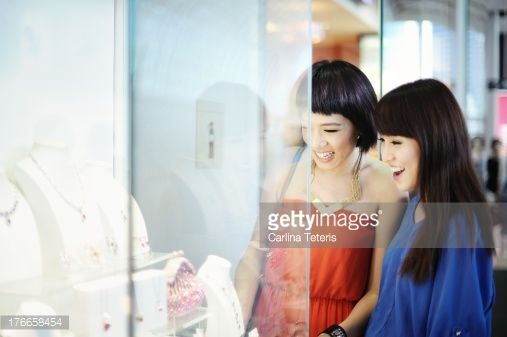 Stock Photo : Friends shopping for jewlery