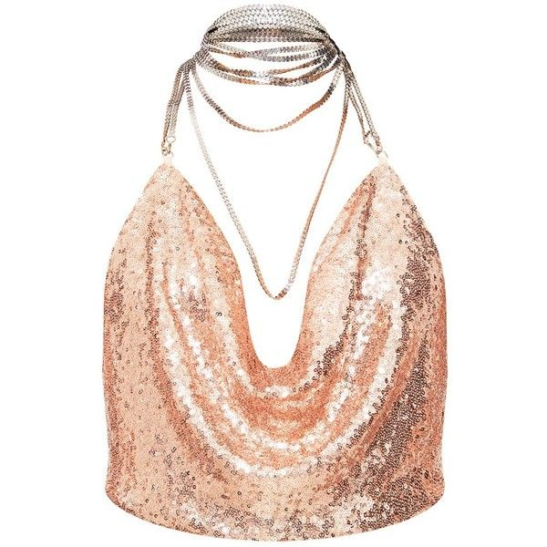 93865f981259f3 Rose Gold Cowl Neck Sequin Chain Crop Top ( 26) ❤ liked on Polyvore  featuring tops