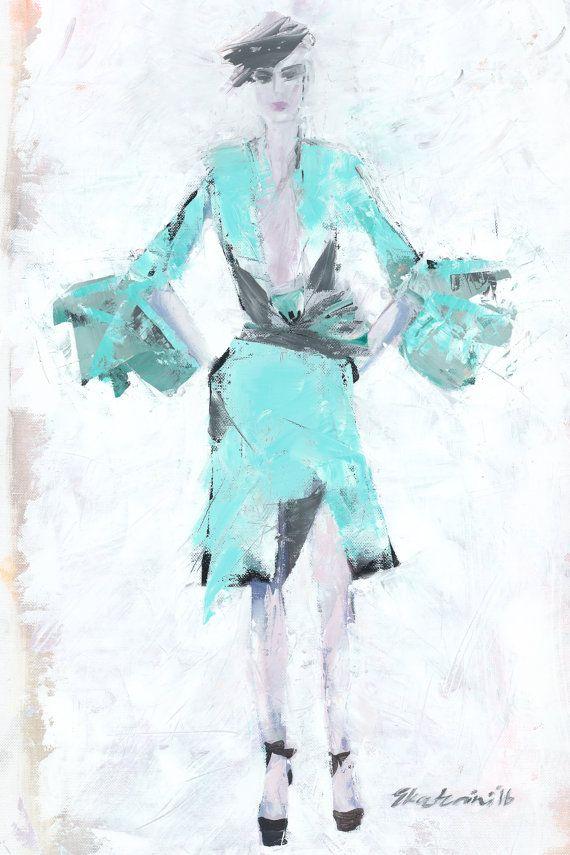 Turquoise Dress Print Giclée von NanaArtfullyMade auf Etsy