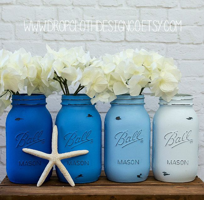 Painted and Distressed Mason Jars - Blue, Blue Ombre, Bright Blue Ombre - Centerpiece, Wedding, Showers by dropclothdesignco on Etsy