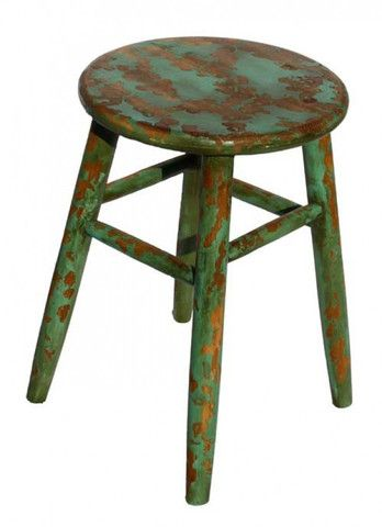 Rustic Country Teal Stool - side table – Lifestyle Home & Living