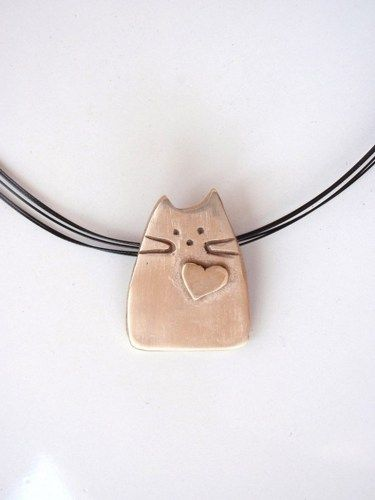 Whimsical #handmade #Cat Pendant with #heart by @Chris Cote Cote Cote Wrinn #GildedOwlJewelry #Jewelry on #ArtFire