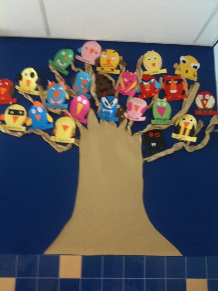 Uilen van de kids in de klassenverjaardagsboom!