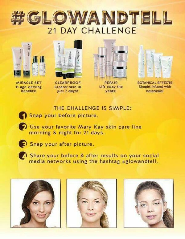 21 Day Glow and Tell Challenge. www.marykay.com/stacey.miller