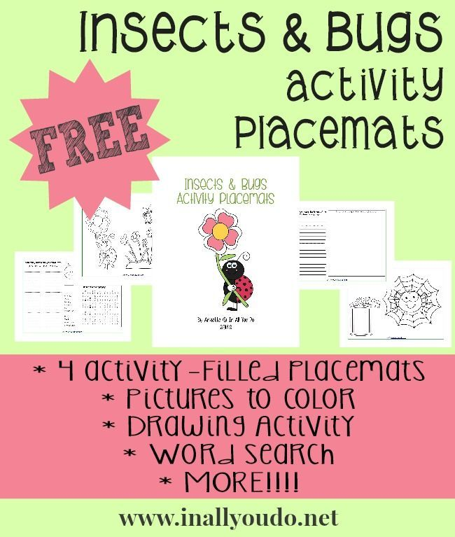 Insects & Bugs Activity Placemats - In All You Do