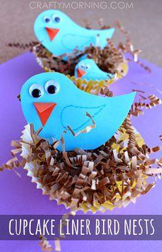 Blue Bird Craft with Cupcake Liner Nests - Fun Spring craft for kids to make! | CraftyMorning.com