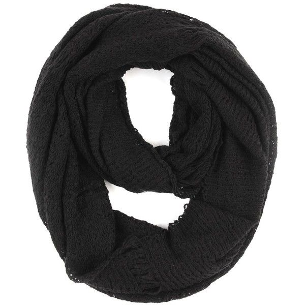 Paula Bianco Frayed Infinity Scarf in Black ($54) ❤ liked on Polyvore featuring accessories, scarves, black, scarves & shawls, round scarf, infinity scarves, black scarves, tube scarves and infinity scarf