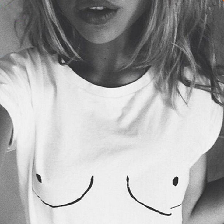>> Click to Buy << 2017 Cotton Womens T shirt White Tit Tee Breast Printed T-Shirt Emoji Tees Street Boob Harajuku Womens Tshirt Plus Size M-3XL #Affiliate