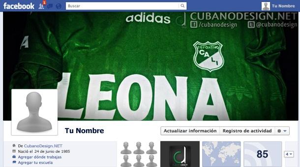 Portada para Facebook de la camiseta del Deportivo Cali 1995-96 (Adidas/Leona).