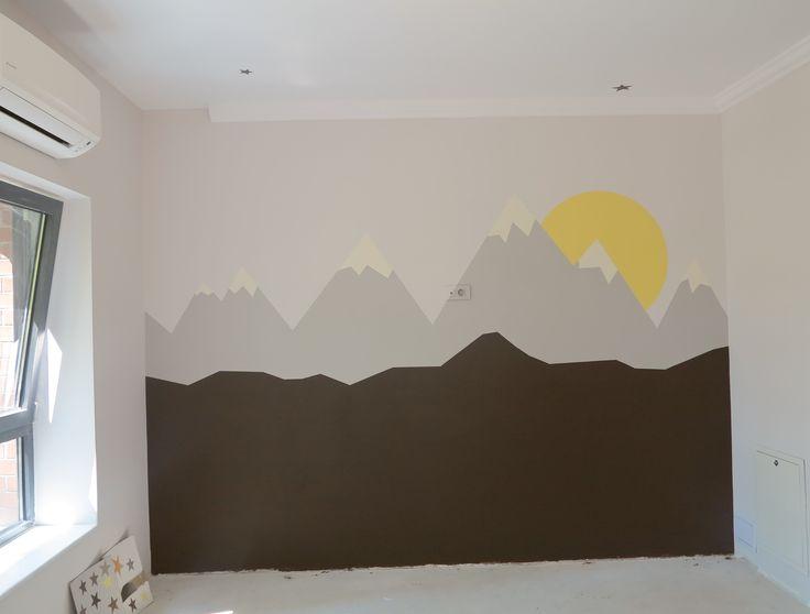 Pictura perete. Culori acrilice, zid.