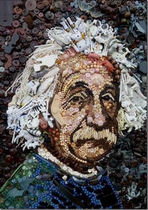 Jane Perkins  Creates  famous Icon from Recycled  Materials-Monalisa Pictures Come With Buttons