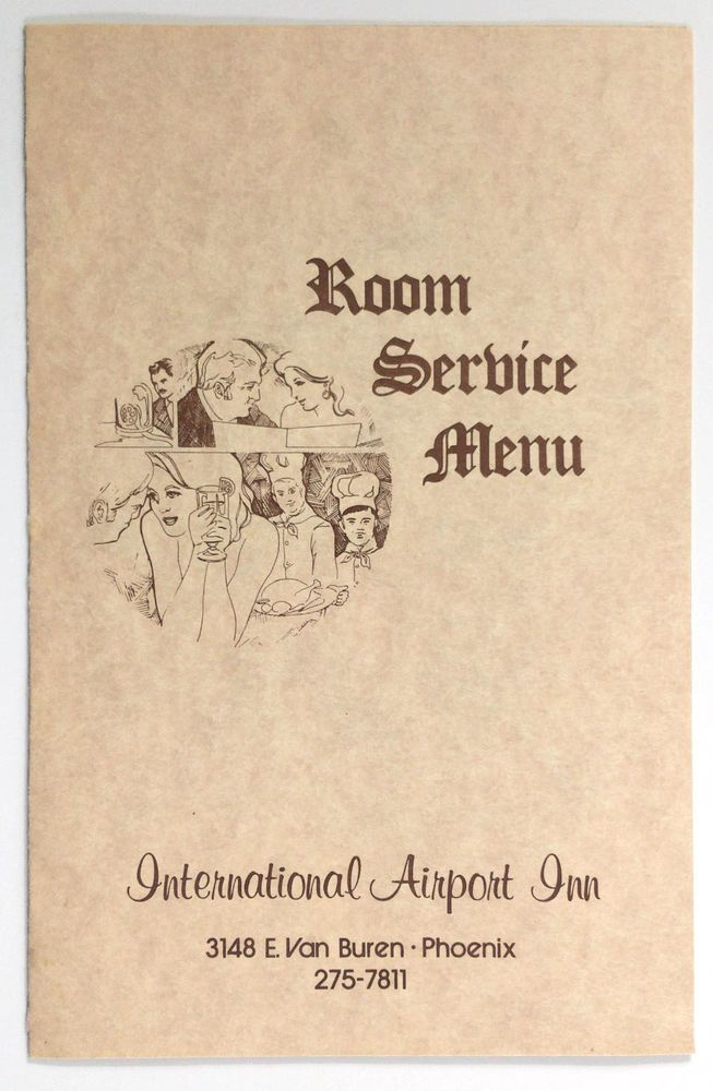 1960's Vintage ROOM SERVICE Menu INTERNATIONAL AIRPORT INN The Broker  Phoenix AZ
