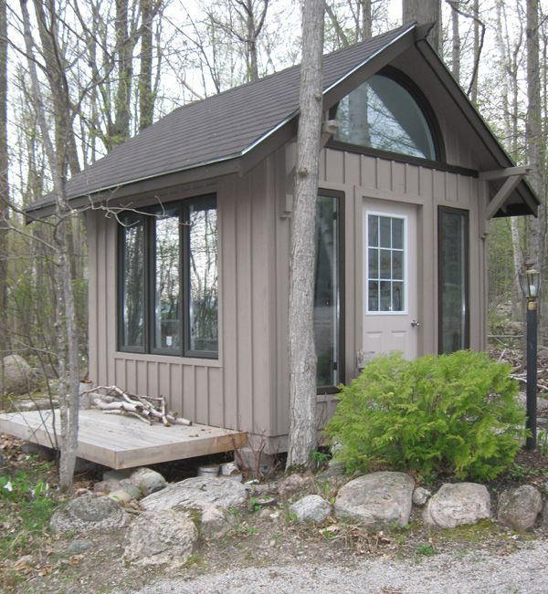 "Pictured here is a small 10′x10′ cabin by Thunder Beach Wood Works. ""We are also interested in the Small House Movement or Tiny Homes. This would be a home between 65 and 887 square feet and could act nicely as a small Summer Home or as an alternative to a home addition."" - Thunder Beach Wood Works"