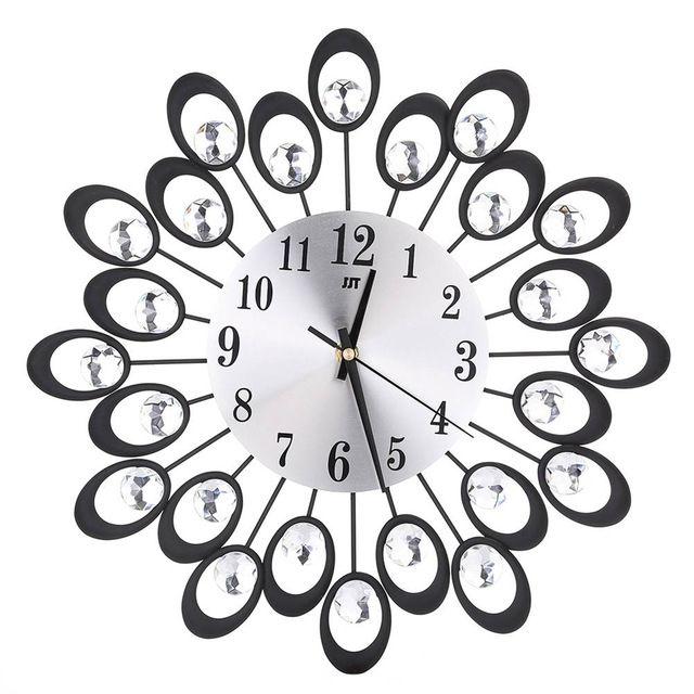 2017 Gold Black Fashion Watches Inlaid Diamond Flower Living Room Silence Bedroom Hall Wall Metal Wall Cl Wall Clock Luxury Vintage Wall Clock Metal Wall Clock